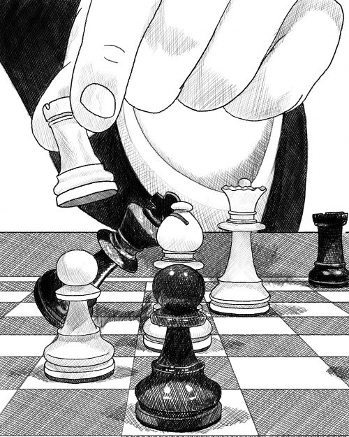 Businessperson Checkmating King Chess Piece With Rook